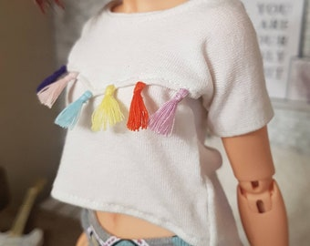 White t-shirt with colored tassels 1/4 msd bjd for Minifee