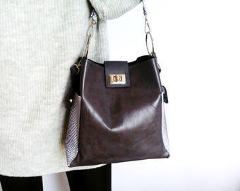 Grey Leather Hobo Bag, Medium Shoulder Purse, Leather Bucket Bag