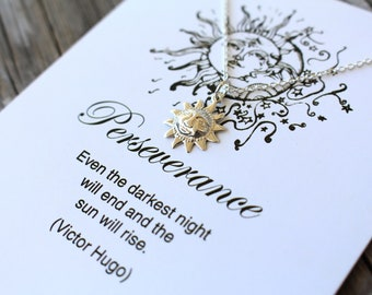 Inspirational Encouragement Jewelry and Gifts , Perseverance Sun Necklace and Card , 925 Sterling Silver Jewelry