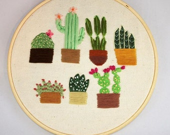 Embroidery hoop, hand embroidered, cactus, cactu, succulents, plants