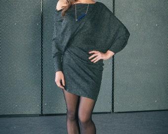 Asymmetrical Wool Dress | Loose Oversized Tunic | Graphite Angora Dress by Sarta