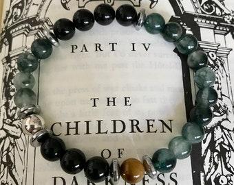 The Prince of the Night/ Gemstone Bracelets for Men/ Gothic Jewelry/ Rocker Jewelry/ Boho Jewelry/ Vampire Jewelry/ Healing Gemstones/ Jade