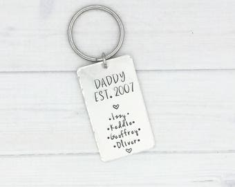 Daddy Keychain with Kids Names • Father's Day Gift • Gift for Dad • Gift for Grandpa