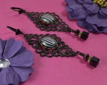 FILIGREE FAB~~Gorgeous Vintage German Glass Cabs/Cabochons, Jet & Silver Night Swarovski Crystals, Black Brass Earrings~~ Two Fell Swoop