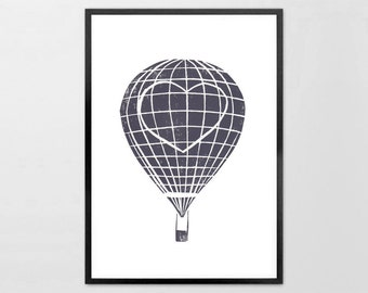 Gray Heart Travel Balloon -  Linoleum Art Print, Kids wall art, Travel, Children, Lino Print