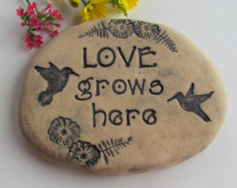 Love Grows Here garden stone, Mother's Day gift idea for Mom, Grandma, Nana. Outdoor decor, plant marker, inspiration sign with Hummingbird