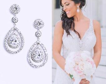 Pear Drop Bridal Earrings Cubic Zirconia Best Bridal Pear Drop Earrings