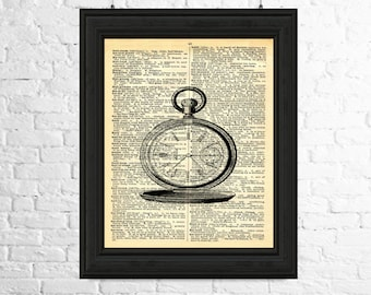Steampunk Dictionary Page Art  - Pocket Watch Wall Art, Pocket Watch Printable Art, Steampunk Wall Art, Printable Poster, Steampunk Poster