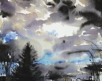 New England Landcape No.150, original watercolor