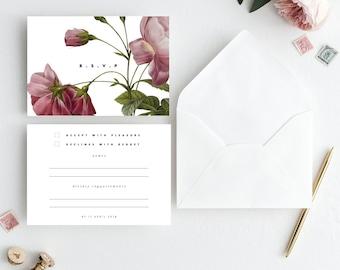 Rsvp Card Red Rose Rsvp Printable Wedding Insert Wedding Template Instant Download Pink Roses Wedding Wedding Rsvp Templett Printable Rsvp