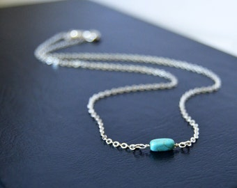 Turquoise Choker Necklace 13 Inch Sterling Choker Necklace 14 Inch Necklace Beaded Choker Sterling Silver