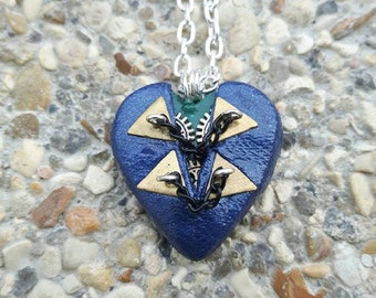 Blue Heart Necklace polymer clay steampunk chain.