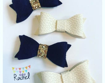 Navy Felt with Gold Glitter & Cream Leatherette Clips Set