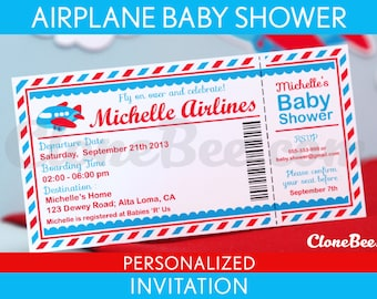 Airplane Baby Shower Invitation Personalized Printable // Airplane - S1Pa4