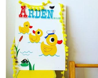 Personalised Ducks Name Print, letter D, Duck Print, kids duck Print, New Baby Gift,Nursery name print,New Baby name Print