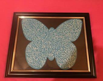 blue intricate butterfly