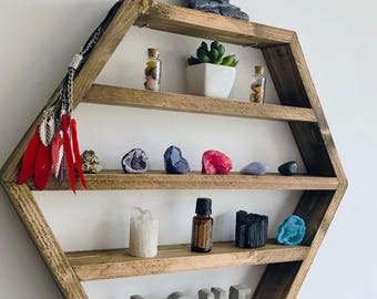 The Crystal ball - display shelf, essential oils shelf, altar shelf, oil storage, crystal storage, crystal shelf, altar, mineral display