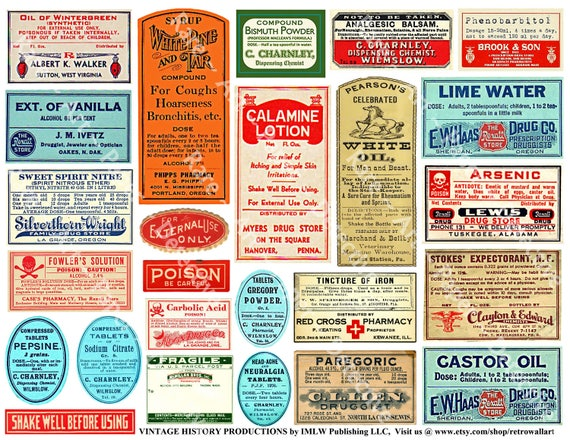 Medicine Bottle Labels Digital Pharmacy Clip Art Antique