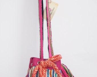 vintage hands free bag, tribal cross-body bag, bohemian cross body bag, peruvian bag, handmade shoulder bag, gypsy