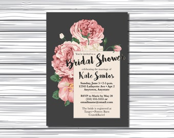 Printable Bridal Shower Invitation - Vintage Roses - Custom Invite - Wedding Shower