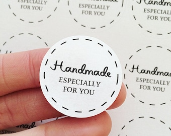 30 Handmade Especially For You Stickers Matte Sheets White Round Lines Labels Packaging UK United Kingdom AC23