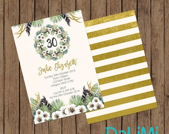 5 x 7 inch Floral Party Invitation - Birthday Invitation - Baby Shower Invitation - 30th Birthday Invitation - Printable Invitation!