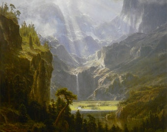 The Rocky Mountains by Albert Bierstadt Home Decor Wall Decor Giclee Art Print Poster A4 A3 A2 Large Print FLAT RATE SHIPPING