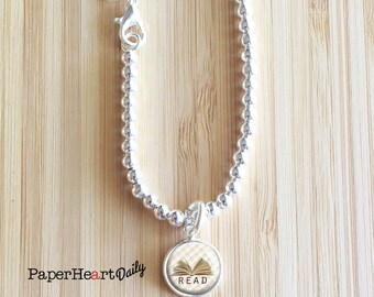 Book Charm Bracelet - Silver Book Charm - Book Bracelet - Reader Charm - Book Lover - Bookworm for Her - 7.5 inch Bracelet  -  (S5894)