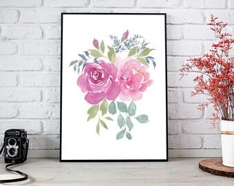Romantic watercolor floral