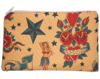 Sailor Jerry Tattoo Rockabilly Makeup Bag Zipper Pouch Clutch Wallet