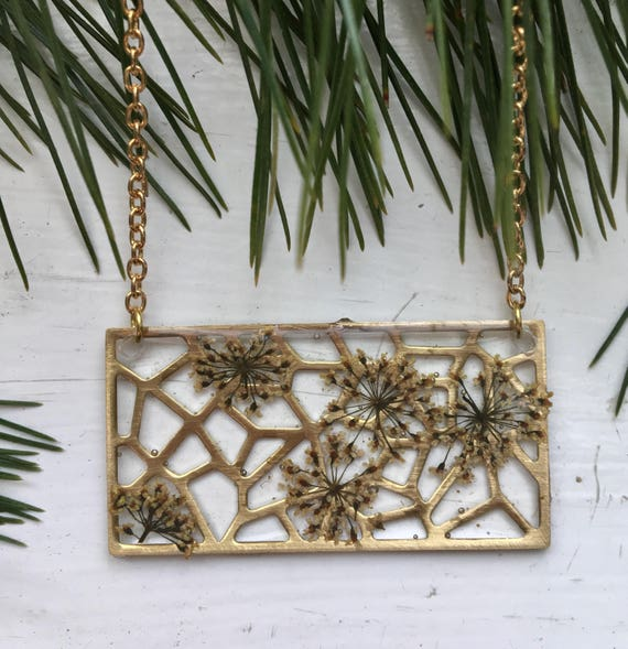 Queen Anne' lace flower filigree brass necklace
