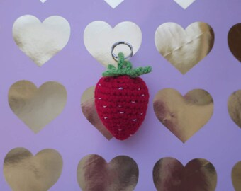 Crochet Strawberry Keychain red berry keyring fruit