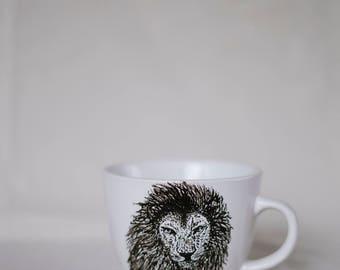 lion mug | hand-painted