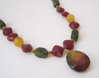 Multi-colored Quartz Necklace Beaded Gemstone Necklace Honey Yellow Green Cranberry Necklace Colorful Jewelry