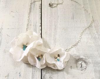 Linen Flower Bib Necklace