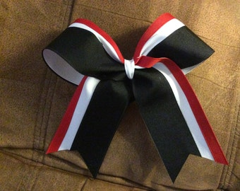 Tri Color cheer bow - red - white - black