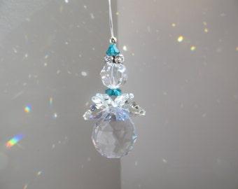 Swarovski Crystal Angel, Christmas Angel, Suncatcher, Christmas Ornament, Stocking Stuffer, Nursery Decor Birthstone Angel, Rear View Mirror