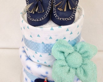 Baby boy shoes nappy cake