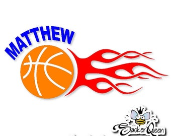 Basketball Vinyl Decal for Your Car or Laptop - Custom Name Decal - Personalized Sports Decal - Basketball Mom Brag Decal - Car Decal