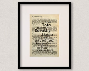 """Wizard Of Oz quote print - Dog lover gift - Best friend - Birthday gift - Mothers Day gift - """"It was Toto that made Dorothy laugh..."""""""