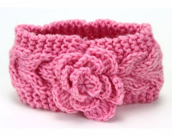 baby girl ear warmer headband is hand knitted