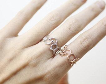 Serotonin Molecule Statement Ring, Serotonin ring, Chemistry Compound Ring, chemistry jewelry