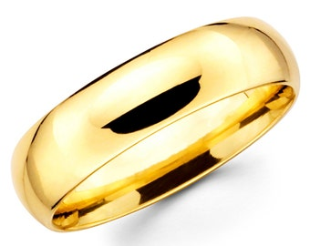 14K Solid Yellow Gold 6mm Plain Wedding Band Ring