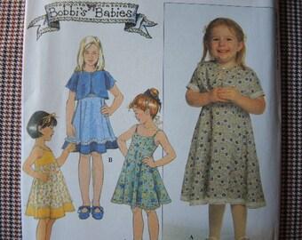 1990s Simplicity sewing pattern 8596 Bobbi's Babies UNCUT girls sun dress and bolero jacket size 3-4-5-6
