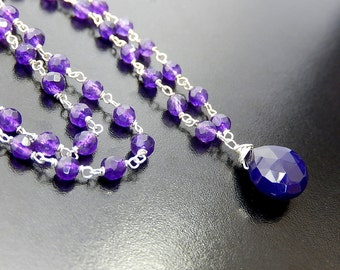 Purple Teardrop Necklace, Grape Colored Drop Necklace, Wire Wrapped, Rosary Style Sterling Silver