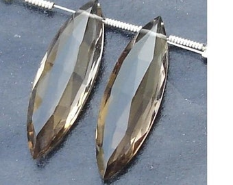 AAA Quality, 25mm Long Truly Rare SMOKY Quartz Faceted Elongated Marquise Briolettes Matched Pair,SUPERB