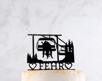 Couple on Chairlift Skiing Adventure - Outdoor Activity Fun Wedding Cake Topper