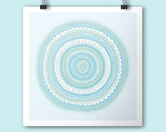 Dreamy Carousel / Mandala Art print / 21x21 cm print / Square print / Illustration / Contemporary art / light blue mandala nursery art