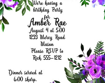 Birthday invitation, floral invitation, purple invitation, wedding invitation, purple flowers, printable invitation, digital invitation