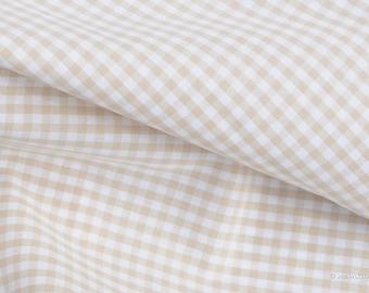 Gingham fabric beige checkered 2.5 mm Eco-Tex® standard 100